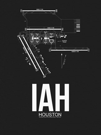 Framed IAH Houston Airport Black Print