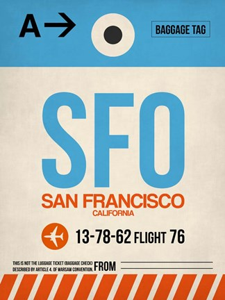 Framed SFO San Francisco Luggage Tag 1 Print