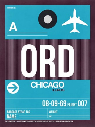 Framed ORD Chicago Luggage Tag 1 Print