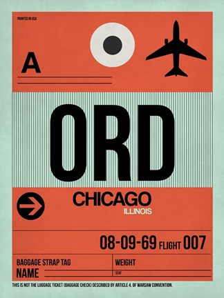Framed ORD Chicago Luggage Tag 2 Print