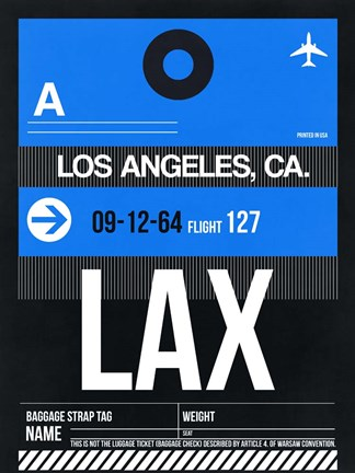 Framed LAX Los Angeles Luggage Tag 3 Print