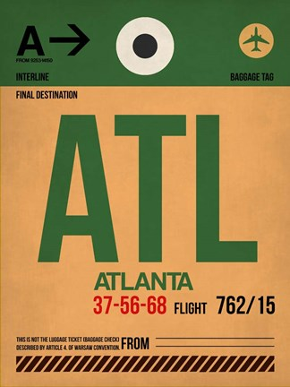 Framed ATL Atlanta Luggage Tag 1 Print