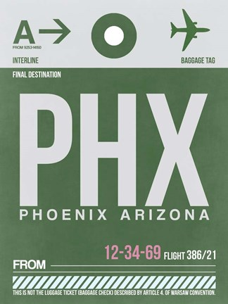 Framed PHX Phoenix Luggage Tag 2 Print
