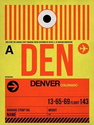 Framed DEN Denver Luggage Tag 1 Print