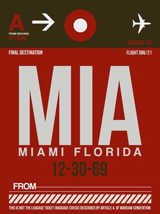 Framed MIA Miami Luggage Tag 2 Print