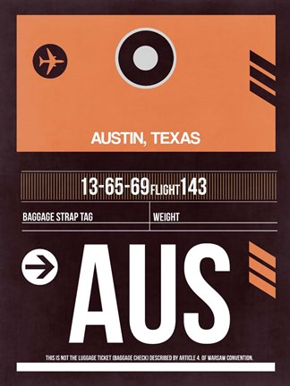 Framed AUS Austin Luggage Tag 2 Print