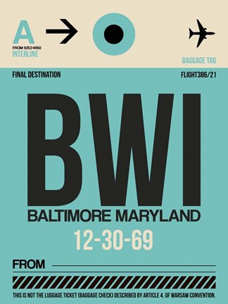 Framed BWI Baltimore Luggage Tag 1 Print