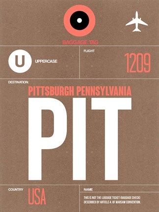 Framed PIT Pittsburgh Luggage Tag 2 Print