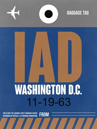 Framed IAD Washington Luggage Tag 2 Print