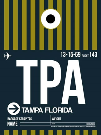 Framed TPA Tampa Luggage Tag 2 Print