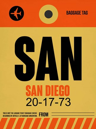 Framed SAN San Diego Luggage Tag 1 Print