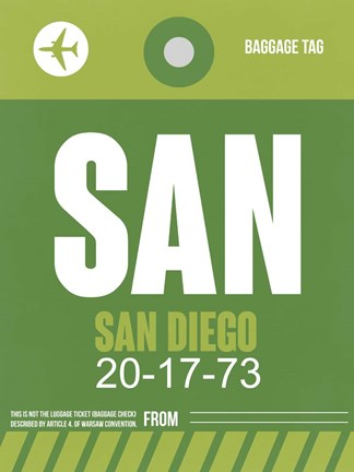 Framed SAN San Diego Luggage Tag 2 Print