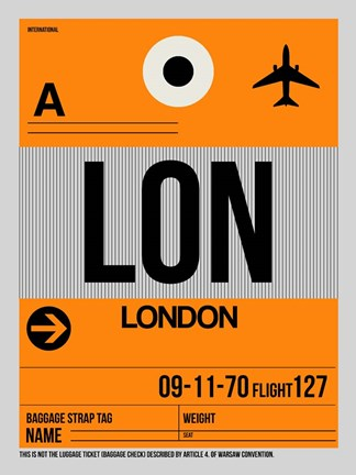 Framed LON London Luggage Tag 1 Print