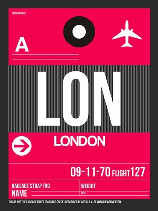Framed LON London Luggage Tag 2 Print