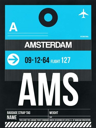 Framed AMS Amsterdam Luggage Tag 1 Print