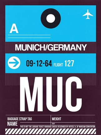 Framed MUC Munich Luggage Tag 1 Print