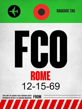 Framed FCO Rome Luggage Tag 1 Print