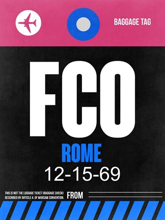 Framed FCO Rome Luggage Tag 2 Print