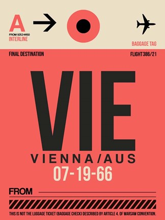 Framed VIE Vienna Luggage Tag 1 Print