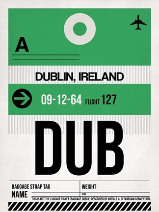 Framed DUB Dublin Luggage Tag 1 Print
