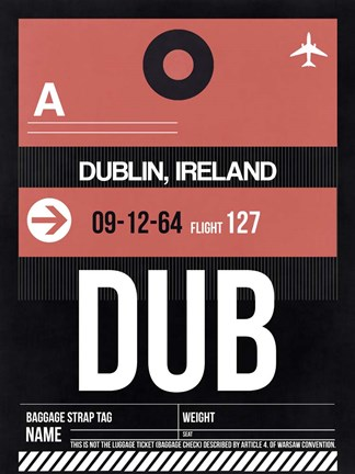 Framed DUB Dublin Luggage Tag 2 Print