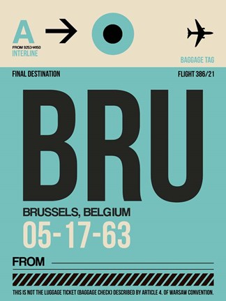 Framed BRU Brussels Luggage Tag 1 Print