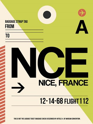 Framed NCE Nice Luggage Tag 2 Print