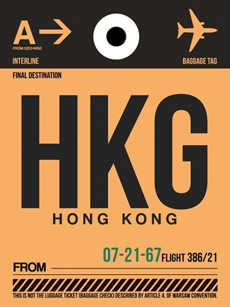 Framed HKG Hog Kong Luggage Tag 2 Print