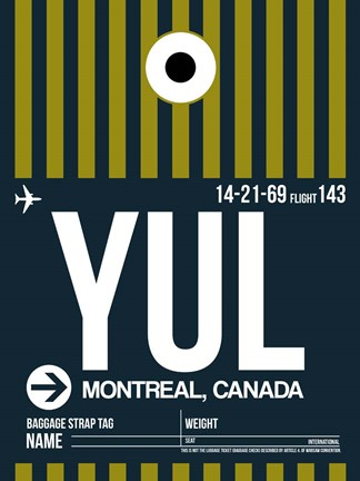 Framed YUL Montreal Luggage Tag 1 Print