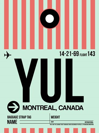 Framed YUL Montreal Luggage Tag 2 Print