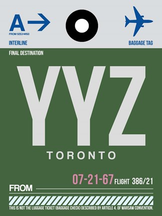Framed YYZ Toronto Luggage Tag 1 Print