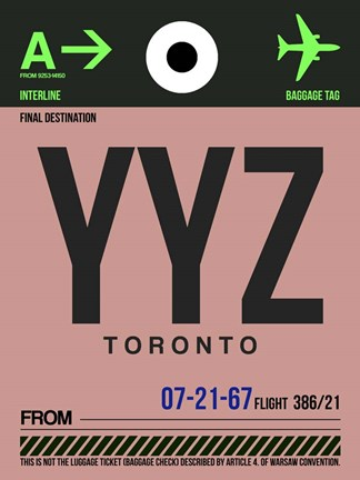 Framed YYZ Toronto Luggage Tag 2 Print