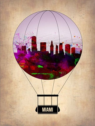 Framed Miami Air Balloon 2 Print