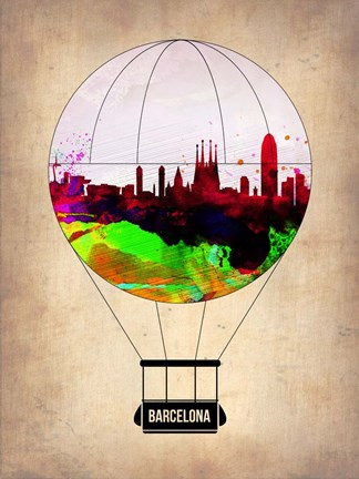 Framed Barcelona Air Balloon 2 Print