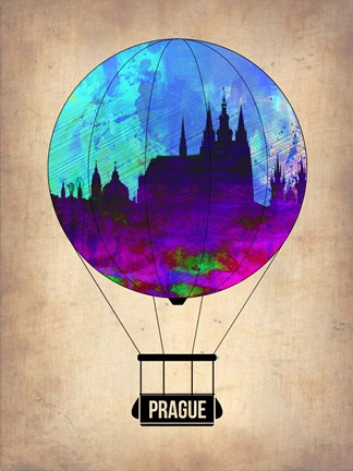 Framed Prague Air Balloon Print