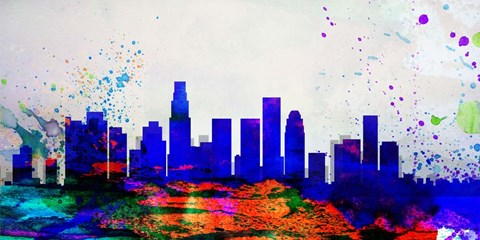 Framed Los Angeles City Skyline Print
