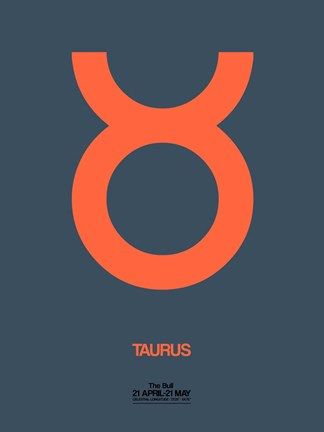 Framed Taurus Zodiac Sign Orange Print