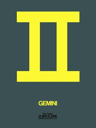 Framed Gemini Zodiac Sign Yellow Print