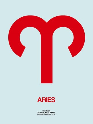 Framed Aries Zodiac Sign Red Print