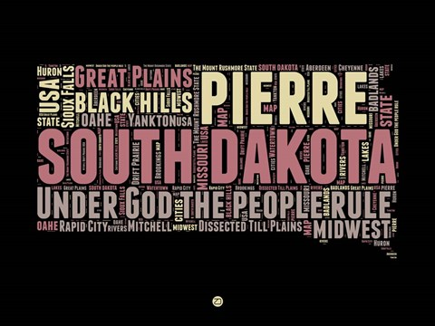 Framed South Dakota Word Cloud 2 Print
