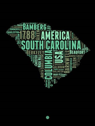 Framed South Carolina Word Cloud 2 Print