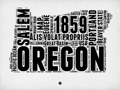 Framed Oregon Word Cloud 1 Print