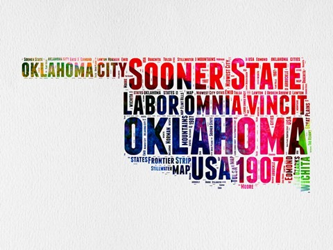 Framed Oklahoma Watercolor Word Cloud Print