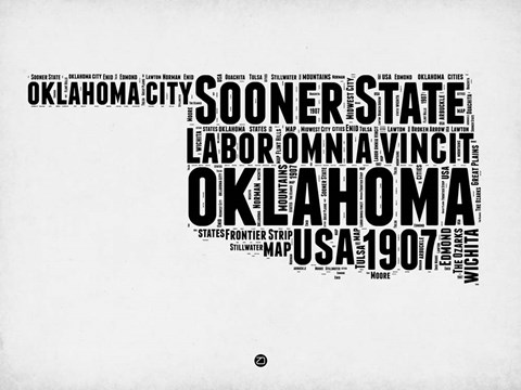 Framed Oklahoma Word Cloud 2 Print