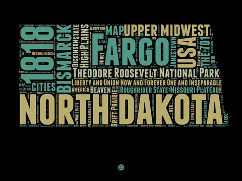 Framed North Dakota Word Cloud 1 Print