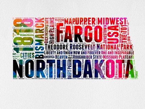 Framed North Dakota Watercolor Word Cloud Print