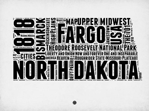 Framed North Dakota Word Cloud 2 Print