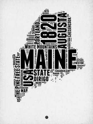 Framed Maine Word Cloud 2 Print