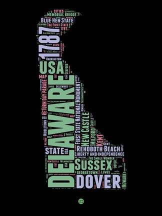 Framed Delaware Word Cloud 1 Print