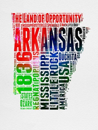 Framed Arkansas Watercolor Word Cloud Print